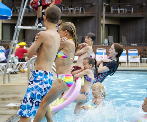 Kids In Outdoor Pool