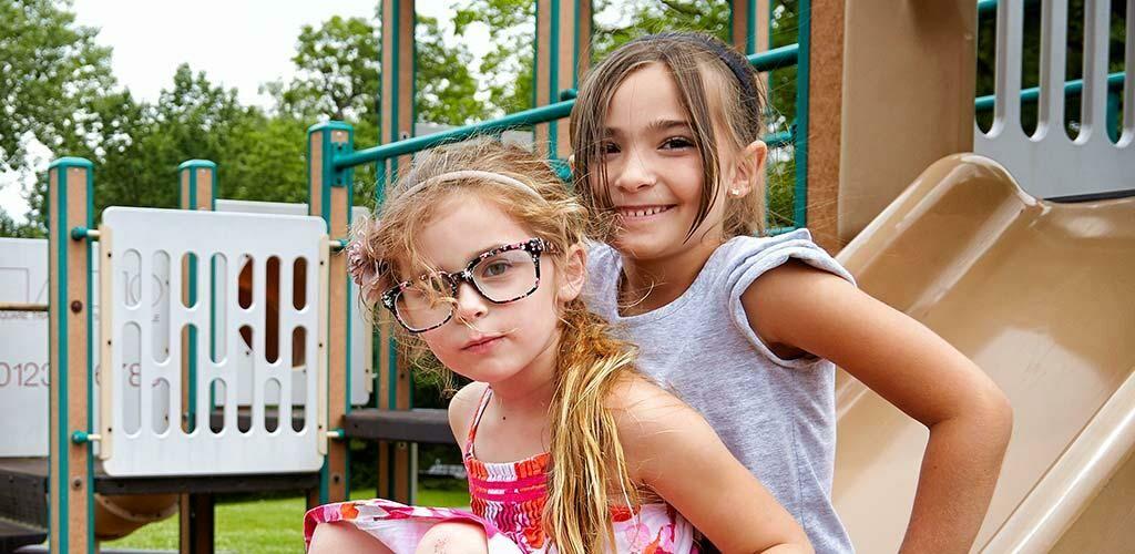 Girls playing at a playground